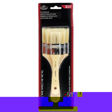 3pce Large Area Flat Brush Set White Bristle