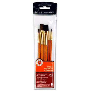 5 Piece Sable and Camel Brush Set