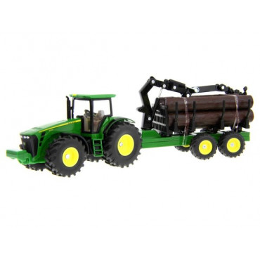 John Deere Tractor With Forestry Trailer 1:50
