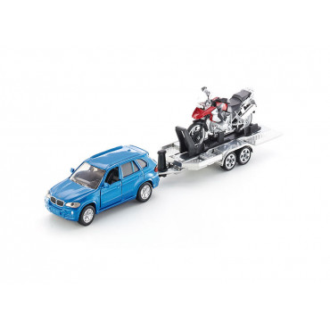 Car With Trailer and Motorbike 1:50