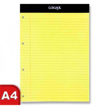 A4 Legal Pad 50 Sheets Yellow