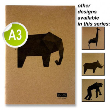A3 Sketch Book Animalia Design-80 Pages