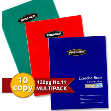 120pg Copy Books Pk10 Assorted Colours