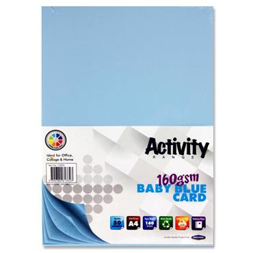 Activity Card 50 Sheets Baby Blue A4 160Gsm