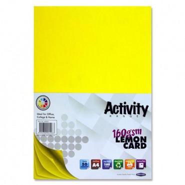 A4 Activity Card 50 Sheets Lemon Yellow