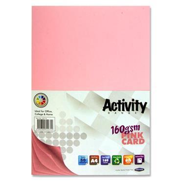 A4 Activity Card Pink 50 Sheets