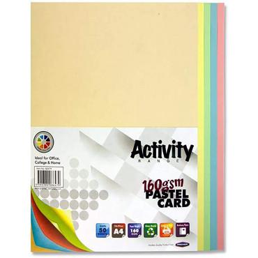 A4 Colour Card 50 Sheets Pastel