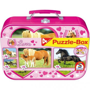 I Love Horses Puzzle Tin 4 In 1 Pink