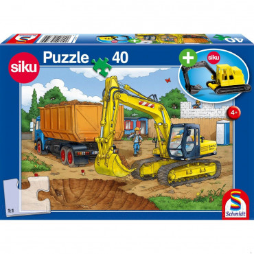 Digger 40pce Puzzle including Siku Model