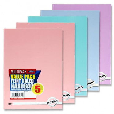 A4 Hardcover Notebook- Pastel Pack of 5