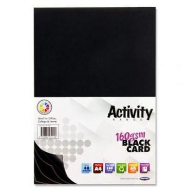 A4 Black Card 40Pk