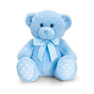 Baby Teddy Bear Spotty Blue 25Cm