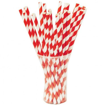 Straws Paper 50Box Red Striped