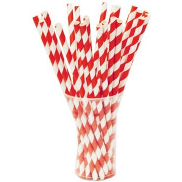Straws Paper 50Box Red Striped