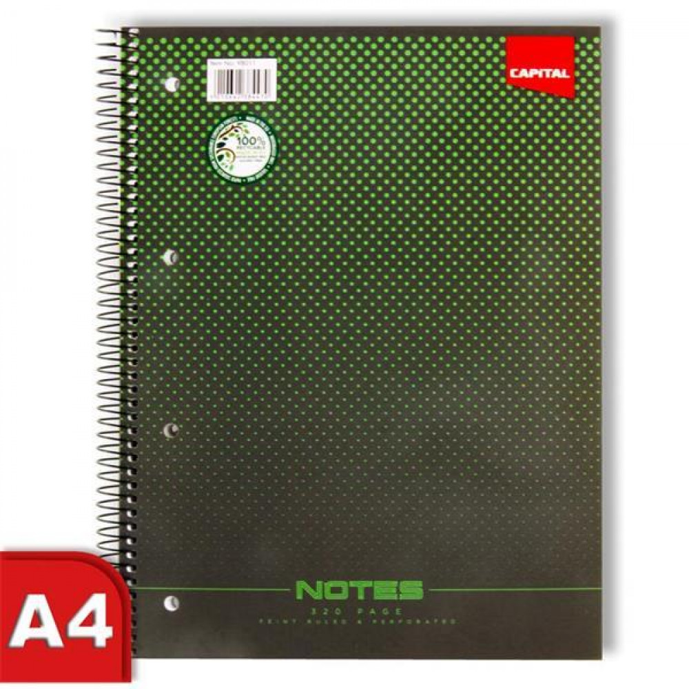 320Pg Sprial A4 Notebook Green