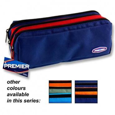 3 Pocket Zip Pencil Case 3 Colour Asst