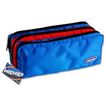 3 Pocket Zip Pencl Case Blue