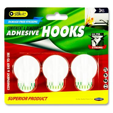 Card 3 Removable Adhesive Plastic Hooks 40X41Mm