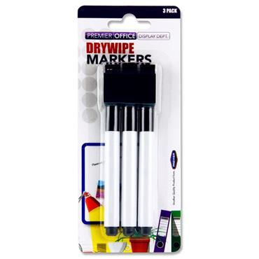Drywipe Markers With Eraser Lid Black 3Pk