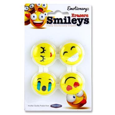 Emotionery Card 4 Erasers  Smileys