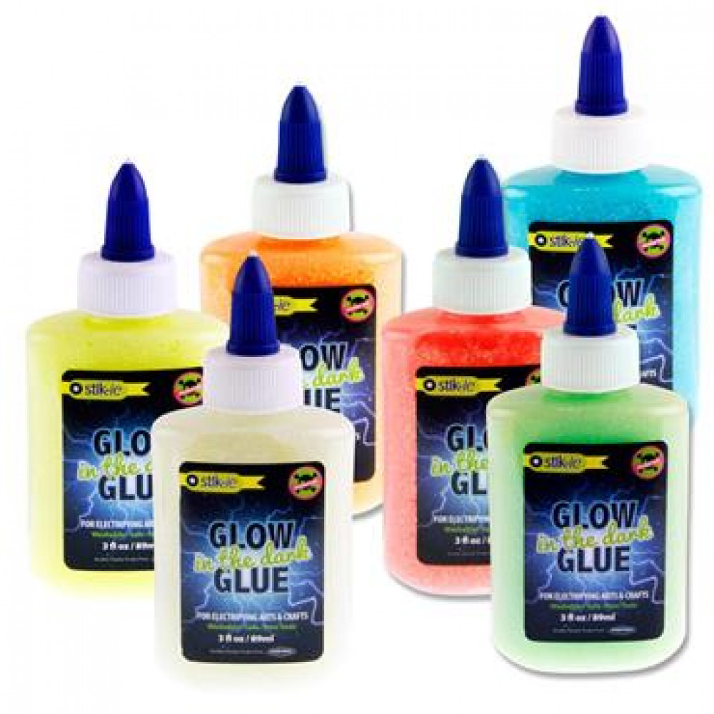 89Ml Glow In The Dark Glitter Glue 6 Asst.