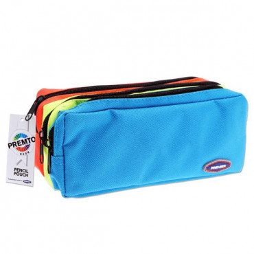 3 Pocket Zip Pencil Case Neon