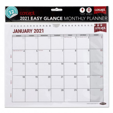2021 Easy Glance Monthly Planner