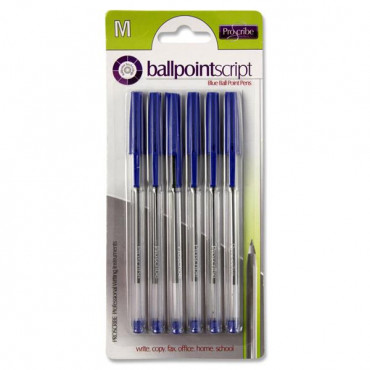 Ball Point Pens Card 6 Blue