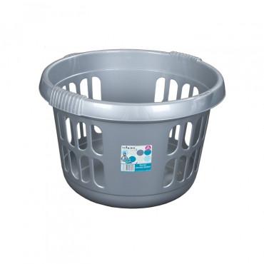 Laundry Basket Silver Round