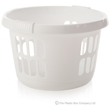 Laundry Basket Round Ice White
